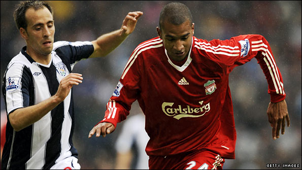 Valero with West Brom and Liverpool's Ryan Babel