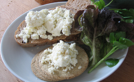 Curd cheese with bread, salad and oatcakes