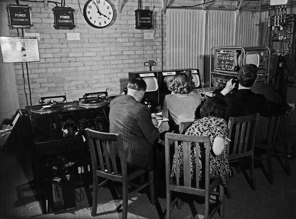 The television control room at BBC Broadcasting Centre, Wembley for the1948 Olympic Games, held in London where pictures from the Empire Pool and Empire Stadium were switched before being transmitted to Alexandra Palace.