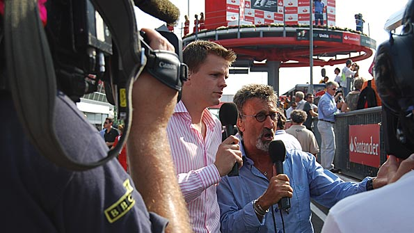Jake Humphrey and Eddie Jordan on air during the Italian Grand Prix programme