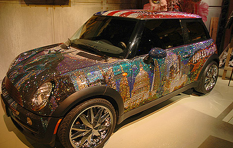 The Crystal Car covered in 1 million Swarovski lead crystals, in the shape of 10 separate images of American Icons, including the Statue of Liberty, t