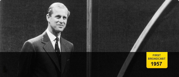 The Duke of Edinburgh in a BBC studio.