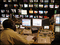 Journalists working in the BBC News 24 gallery
