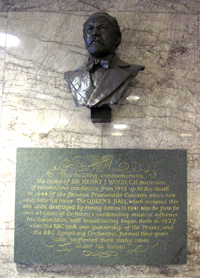 The bust of Henry Wood - founder of the BBC Proms - in the lobby of the building named after him in Central London