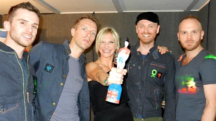 Jo Whiley and BRITs 2012 Best British Group Coldplay