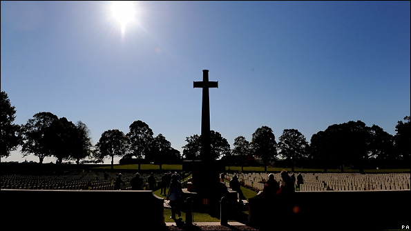 The sun shining over the cemetary in Longueval.