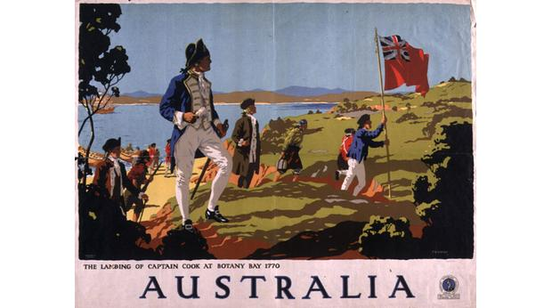 Travel poster for Australia, showing Captain Cook landing at Botany Bay in 1770. Hulton Archive