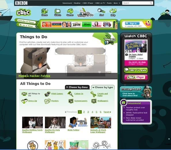 BBC Cbeebies Things to do page