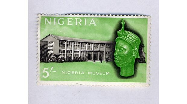 A modern Nigerian stamp showing the Olokun head and the Ife Museum. Copyright Trustees of the British Museum