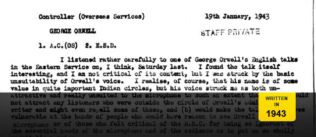 Memo criticising Orwell's voice.