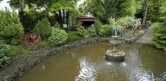 The centre is set in beautifully maintained gardens which include a fountain, a bridge and a waterwheel