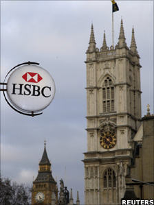 A branch of HSBC bank near Westminster Abbey and the Houses of Parliament