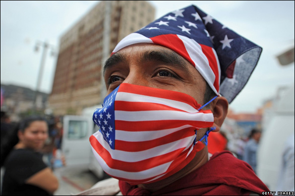 Man wearing US flag mask