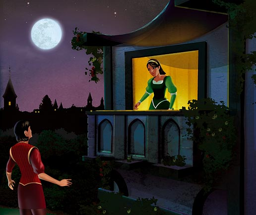 Romeo watches Juliet on her balcony, where she says she's in love with him