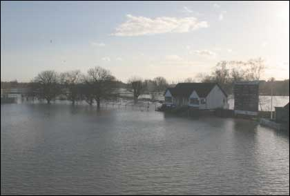 Floods at New Road cricket ground Worcester