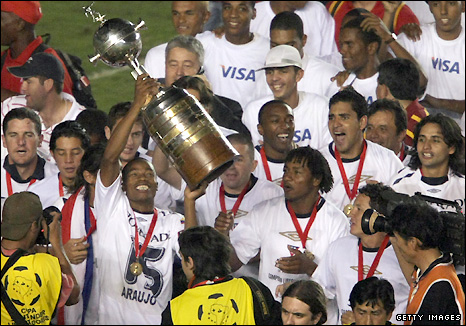 Liga of Quito celebrate winning the 2008 Libertadores