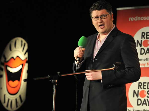 Picture of Radio 3 presenter Tom Service performing stand-up comedy