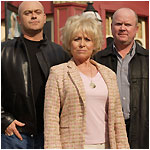 Ross Kemp as Grant, Barbara Windsor as Peggy and Steve McFadden as Phil in 'EastEnders'