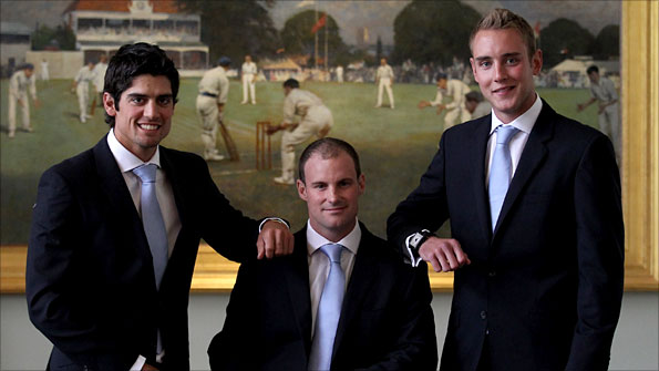 England one-day captain Alastair Cook, Test skipper Andrew Strauss and Twenty20 captain Stuart Broad