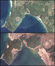 Satellite views of Banda Aceh before and after the tsunami. photos: DigitalGlobe