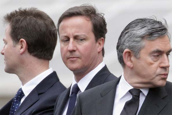 Nick Clegg, David Cameron and Gordon Brown on Saturday 8 May, 2010. Getty Images
