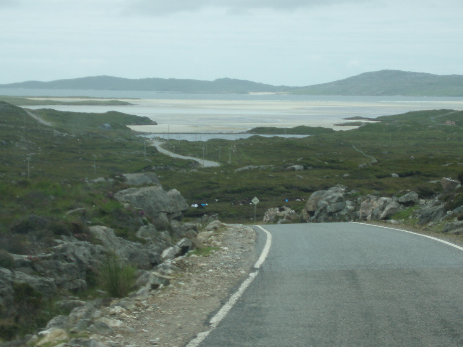 View of Luskentyre Sands with Taransay on the horizon