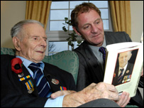 Harry Patch show's Andrew Motion his book.