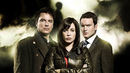L-R: Captain Jack (John Barrowman), Gwen Cooper (Eve Myles) & Ianto Jones (Gareth David-Lloyd)