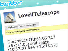 Screengrab of the Lovell telescope twitter page
