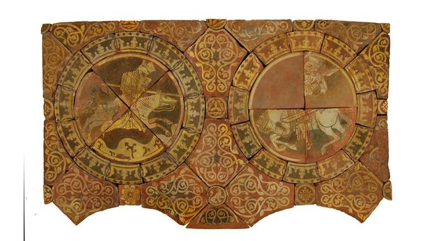 Tiles showing King Richard I slaying Saladin, his enemy on the Third Crusade. Copyright Trustees of the British Museum