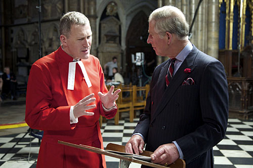 Organist and Master Of Choirs at Westminster Abbey, James O'Donnell, with the Prince Of Wales.