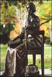 Blackwell statue at Geneva College copyright below