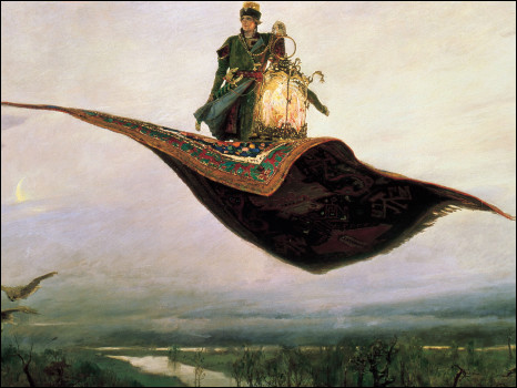 Painting by Viktor Vasnetnov of Russian folk character Ivan the Fool who captured the firebird with the help of a flying carpet.