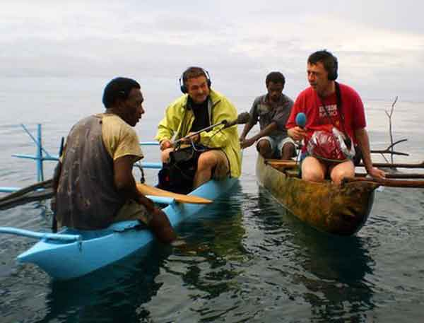 Photo of Andy Kershaw and the Radio 3 team recording fishermen for Music Planet: Oceans