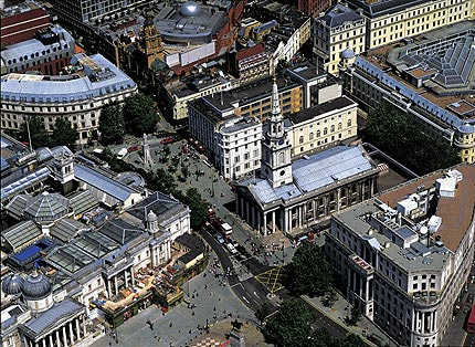 Aerial view of St Martins in the Fields church