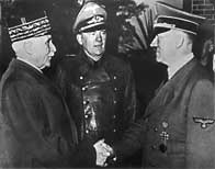 Photograph showing Philippe Petain and Adolf Hitler shaking hands at Montroire