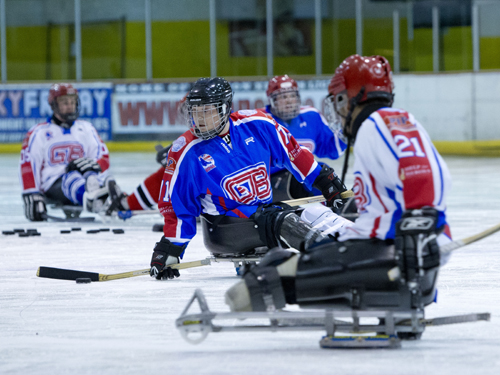 Sledge hockey team in action. Taken by On Edition Photography