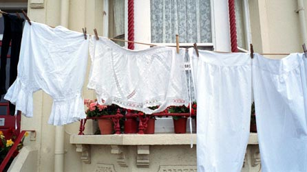 Women's underwear on a washing line