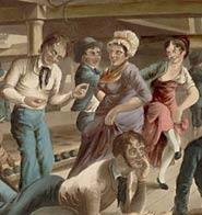 Seamen and their women, dancing below decks