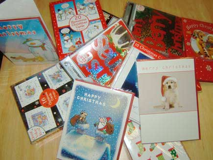 Christmas cards piled up