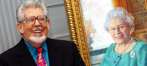 Rolf Harris chats to members of the press about his portrait of Her Majesty The Queen at the Palace of Holyroodhouse.
