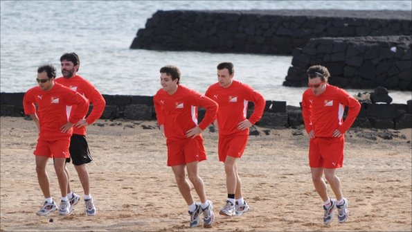 5857ebc968a Ferrari Formula One team and drivers including Fernando Alonso (right) of  Spain and Felipe Massa of Brazil (left) take part in a winter training  session in ...