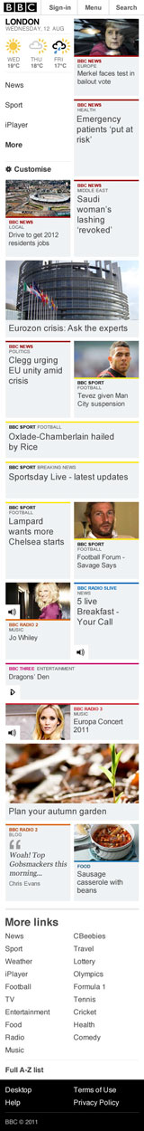 Screen grab of full length of 2-column mobile homepage
