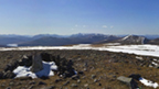 View from the snowy top of Ben Alder on a clear, sunny day.