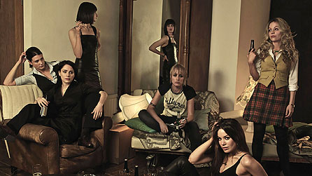 (L-R) Heather Peace as Sam, Laura Fraser as Cat, Natasha O'Keeffe as Sadie, Ruta Gedmintas as Frankie, Roxanne McKee as Lou Foster and Fiona Button as Tess