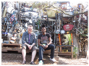 Huw and Ras at the Cathedral of Junk in Austin, Texas
