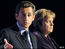 French President Nicolas Sarkozy and German Chancellor Angela Merkel in Deauville, France, 19 Oct 10