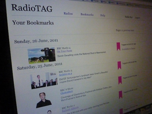 Screen capture of a prototype radio tag list