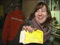 Woman with ticket