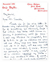 Letter from Enid Blyton to Lionel Gamlin.